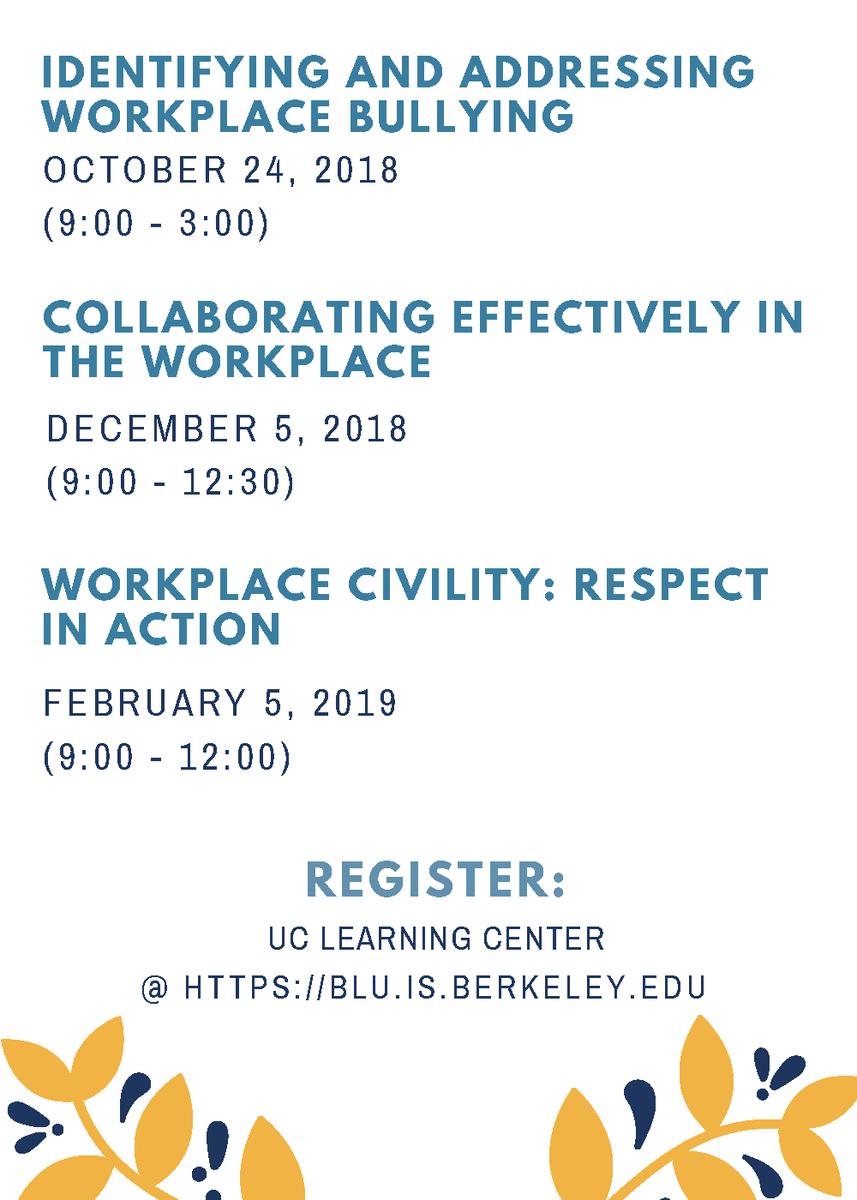 Fall/Winter 2018-2019 Staff Ombuds Classes