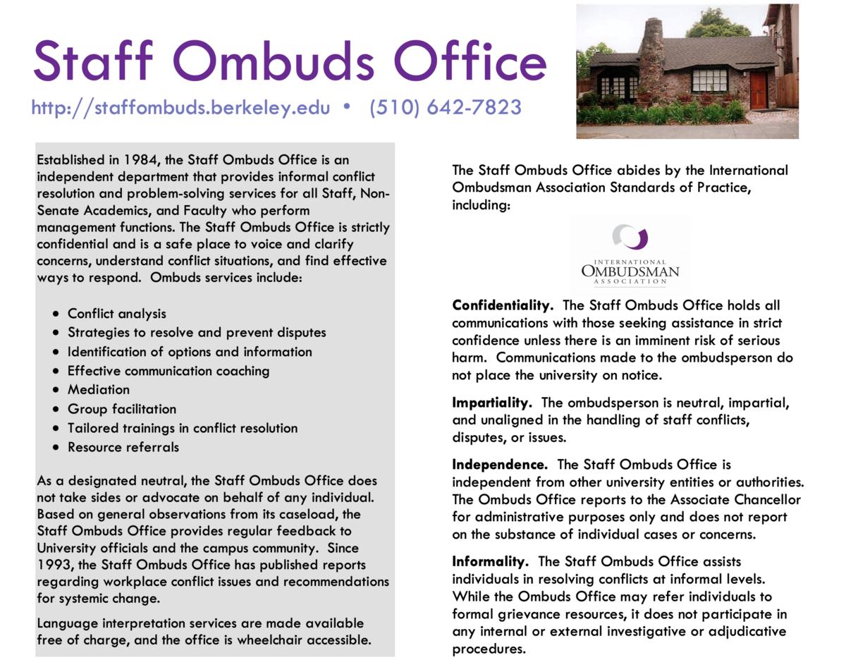 Staff Ombuds Office flyer